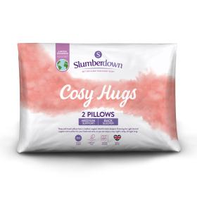 Slumberdown Cosy Hugs Medium Support Back Sleeper Pillow, 2 Pack