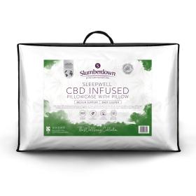 Slumberdown Sleepwell Back Sleeper Medium Support CBD Infused Pillowcase With Pillow, 1 Pack