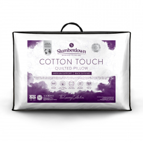 Slumberdown Luxury Cotton Touch Quilted Medium Support Pillow, 1 Pack