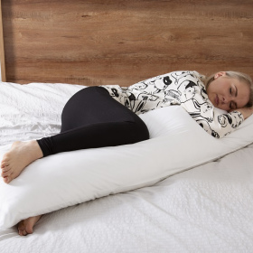 Slumberdown Body Support Pillow, 1 Pack, Includes 100% Cotton Pillow Case