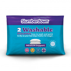 Slumberdown Truly Washable Medium Support Pillow, 2 Pack