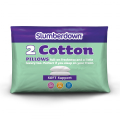 Slumberdown Cotton Soft Support Pillow, 2 Pack