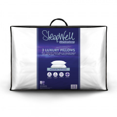 Slumberdown Sleepwell Luxury Embossed Stripe Medium Support Pillow, 2 Pack